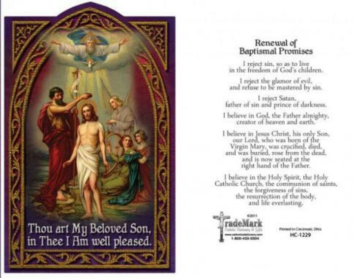 Renewal Of Baptismal Promises Jesus Christ Is My Savior
