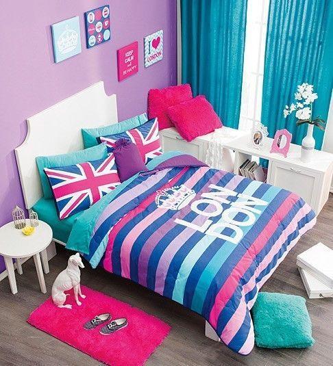New Girls Teens Aqua Turquoise Pink Purple Crown London Comforter Bedding Set in Comforters & Sets | eBay
