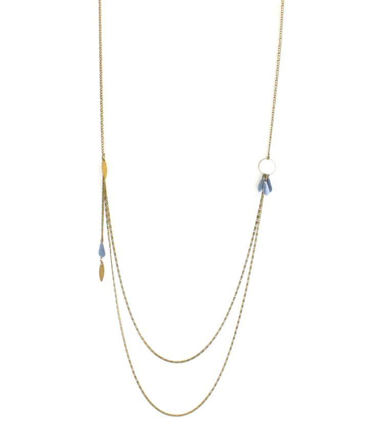 Sautoir bronze double chaîne pampilles gouttes bleu gris. Collier sautoir double…