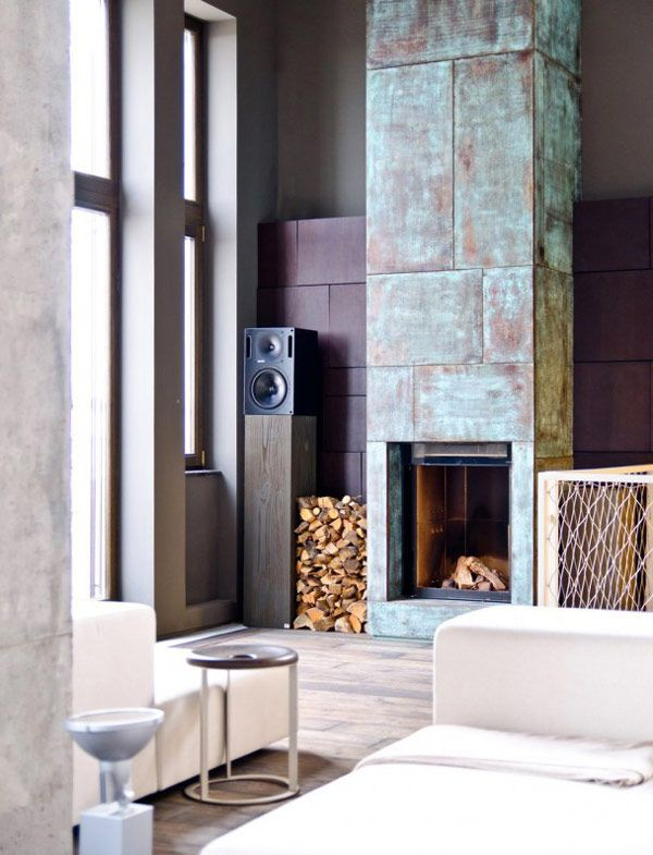 Modern Fireplace Industrial Fascinating Mix of Materials and Textures Showcased by Industrial Loft in Kiev