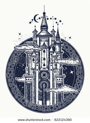 Medieval castle tattoo art. Symbol of the fairy tale, dream, magic. Medieval castle t-shirt design