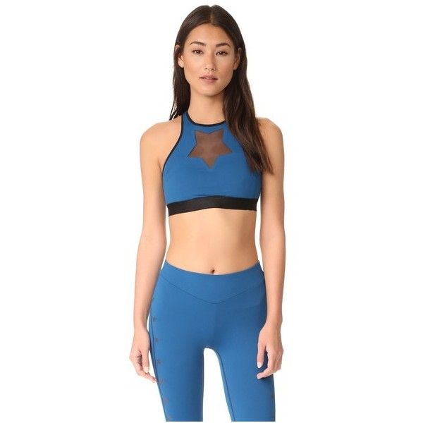 Monreal London Star Power Bra ($195) ❤ liked on Polyvore featuring activewear, sports bras, teal, blue sports bra, mesh jersey and blue jersey