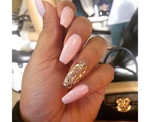 Pink with gold leaf coffin nails