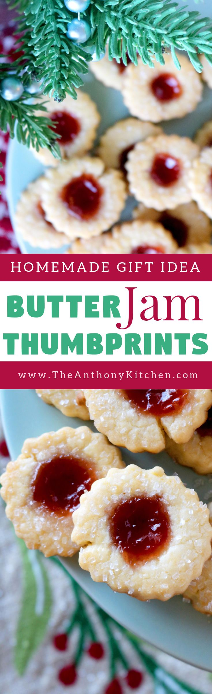 Holiday Thumbprint Cookies | A recipe for butter jam thumbprint cookies, featuring a melt-in-your-mouth, buttery cookie filled with strawberry jam and sprinkle with sparkling sugar | #butterjamcookies #christmascookies #thumbprintcookies #homemade #cookierecipe
