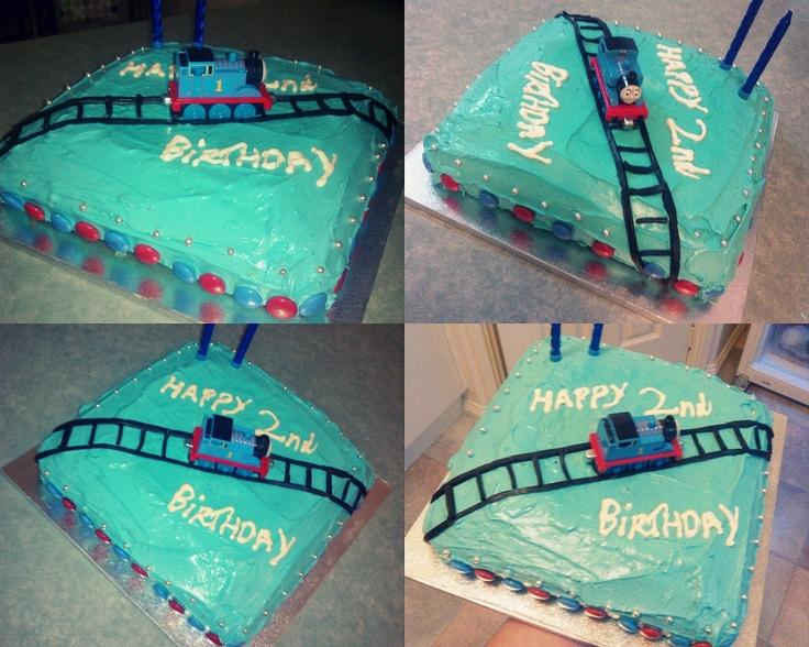 Thomas the tank engine themed birthday cake