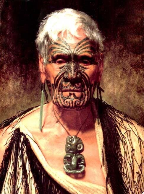 Tattooed Maori man - New Zealand