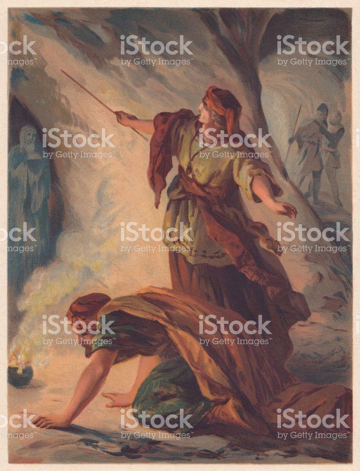 Saul, na bruxa de Endor (1 Samuel 28), chromolithograph vetor e ilustração royalty-free royalty-free