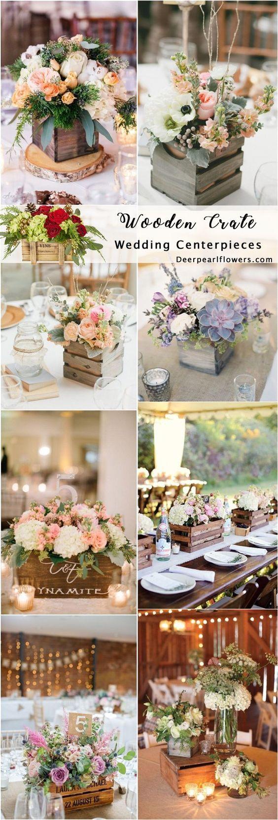 Rustic country wooden crate wedding centerpieces #rusticweddings #countryweddings / http://www.deerpearlflowers.com/rustic-woodsy-wedding-trend-2018-wooden-crates/