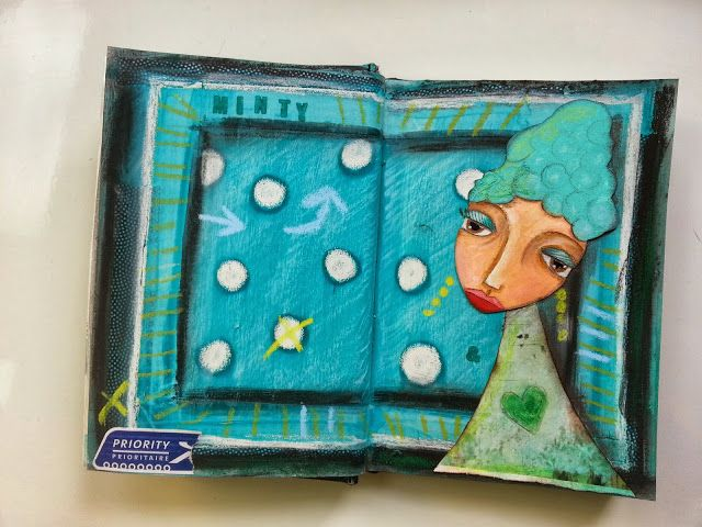 Minty, art journal by Marieke Blokland, www.bloknote.nl, mixed media in turquoise and mint green.
