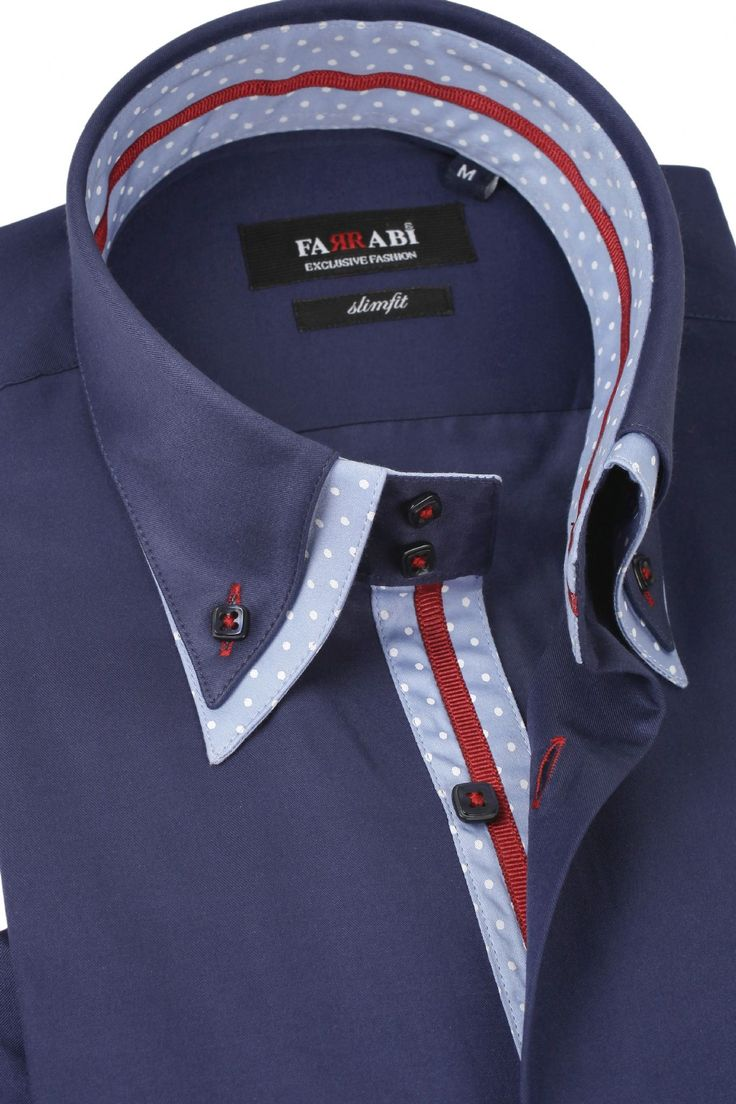 F7 Navy/Blue Shirt | Farrabi Slim Fit | Exclusive Luxury Shirts