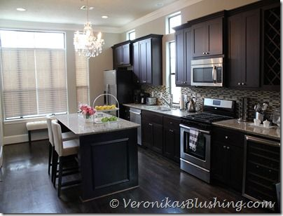 a painted house benjamin moores revere pewter paired with dark wood and lighter - Behr Paint Kitchen Cabinets