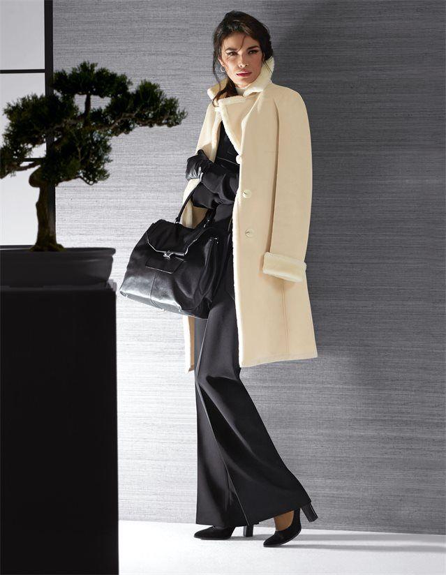 damen polar luxe mantel aus wildlederimitat mit webpelz in der farbe wollwei elfenbein wei. Black Bedroom Furniture Sets. Home Design Ideas