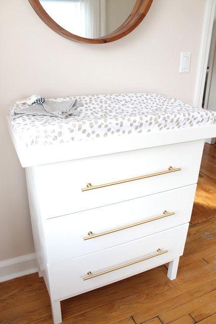 Ikea Tarva dresser turned changing table