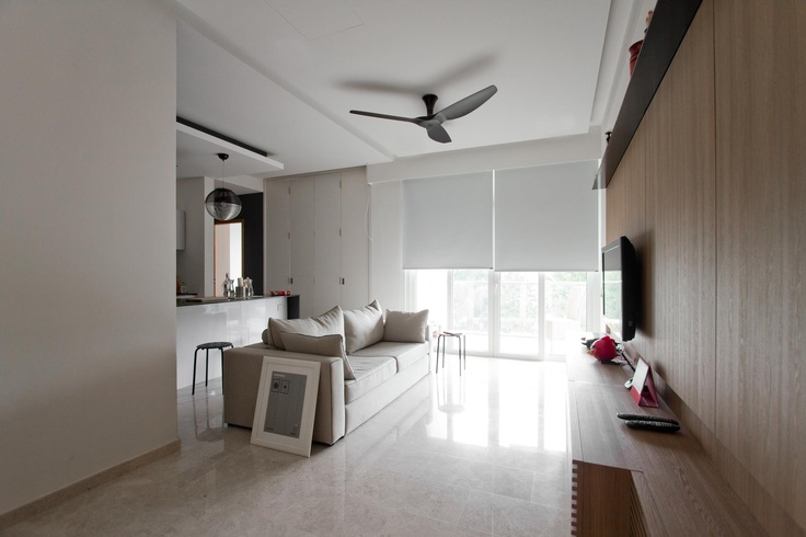 whitewash living space with isolated colour splashes