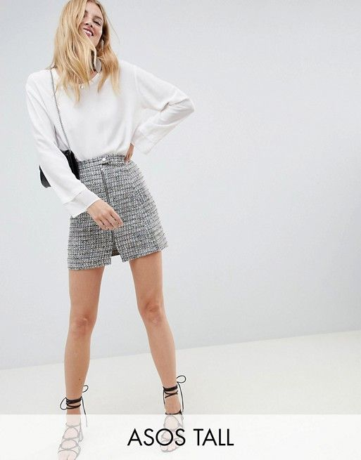 42e9f33d4a7806 DESIGN Tall boucle mini skirt with asymmetric zip | 2 0 1 8 | Mini skirts, Asymmetrical  skirt, Asos