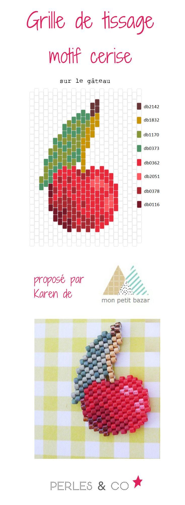 """Quel est votre fruit rouge préféré? La cerise peut être ? Et bien, Karen du blog Mon petit bazar vous propose de tisser avec des perles Miyuki un motif cerise, qu'elle appelle """"sur le gâteau"""".   Ce motif peut être réalisé avec les techniques brickstitch ou peyote.  Retrouvez le tutoriel sur le site de Perles & Co >> https://www.perlesandco.com/Diagramme_cerise_en_perles_Miyuki_Delicas_par_Mon_petit_bazar-s-2770-47.html"""