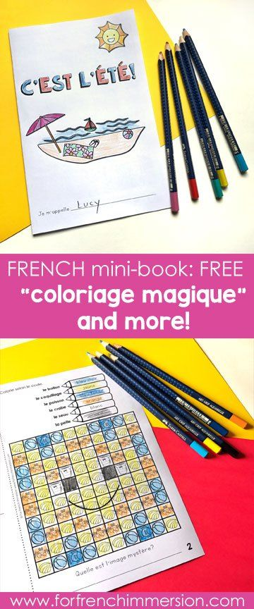 """French Summer Mini-book: a FREE printable to get your students practicing summer-related vocabulary in French. Includes a """"coloriage magique""""!"""
