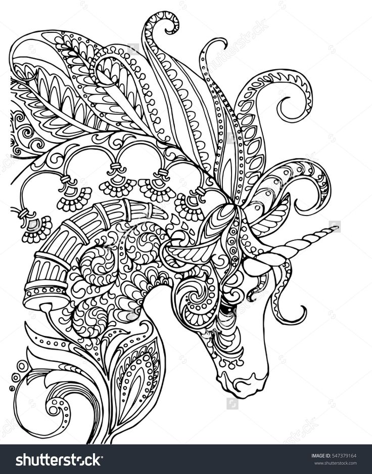 Elegant zentangle patterned unicorn, doodle page for adult ...