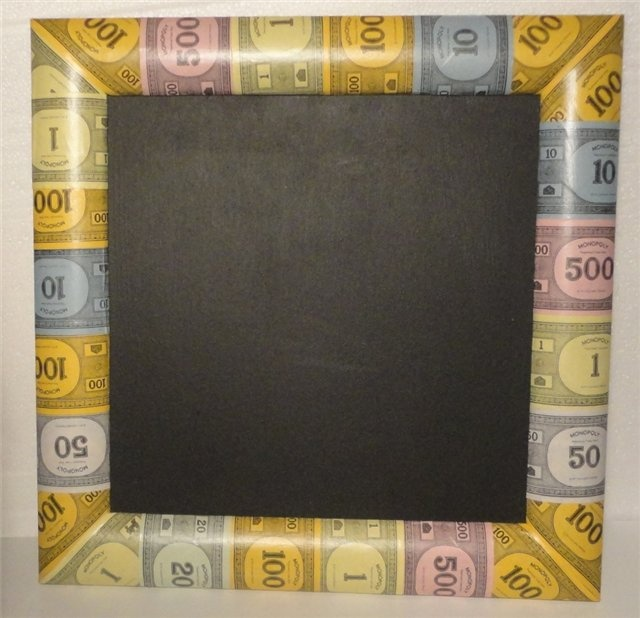 Monopoly Money Decoupaged Chalk Board