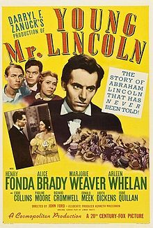 Young Mr. Lincoln is a 1939 partly fictionalized biography about the early life of President Abraham Lincoln, directed by John Ford and starring Henry Fonda.Ford and producer Darryl F. Zanuck fought for control of the film, to the point where Ford destroyed unwanted takes for fear the studio would use them in the movie.Screenwriter Lamar Trotti was nominated for an Academy Award for Best Writing/Original Story.