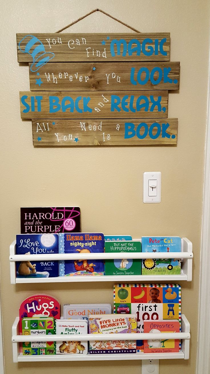 Storybook Nursery reading wall. Dr Seuss quote: You can find magic wherever you look. Sit back and relax, all you need is a book.