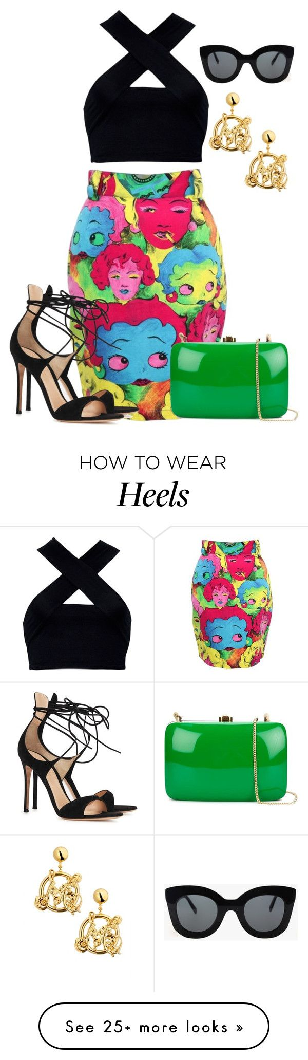 """""""Betty on the Booty"""" by perichaze on Polyvore featuring Versace, Motel, Gianvito Rossi, Rocio, Moschino, CÉLINE, women's clothing, women, female and woman"""