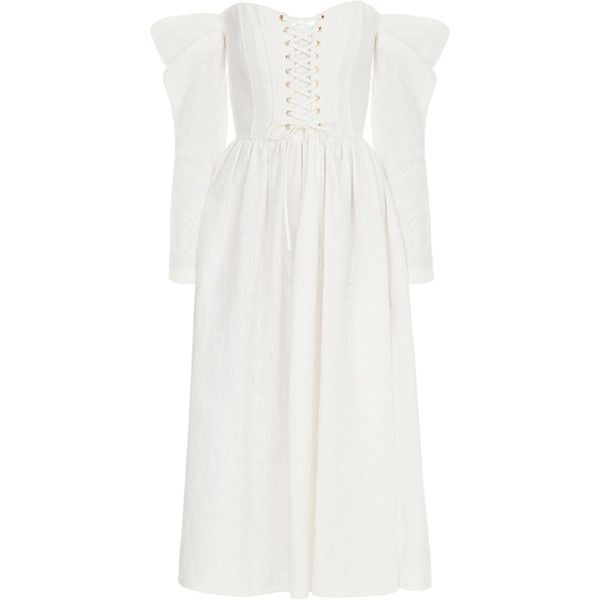 FLOW the Label Off The Shoulder Linen Dress ($935) ❤ liked on Polyvore featuring dresses, white, corset bustier, corset dresses, bustier corset, off-shoulder dresses and bustier corset dress