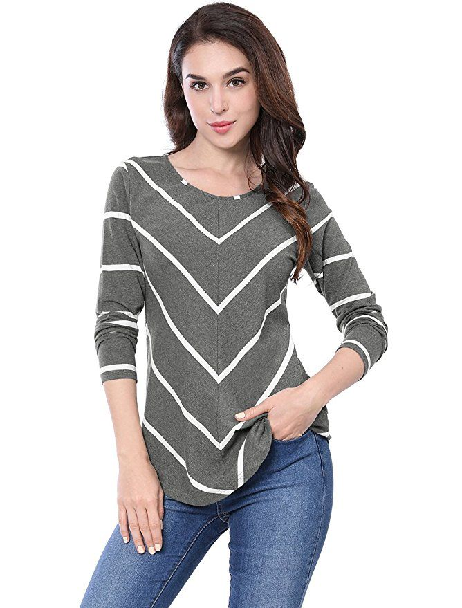 64b40afa144 Allegra K Women s Long Sleeves Scoop Neck Striped Chevron Print Top S Dark  Grey