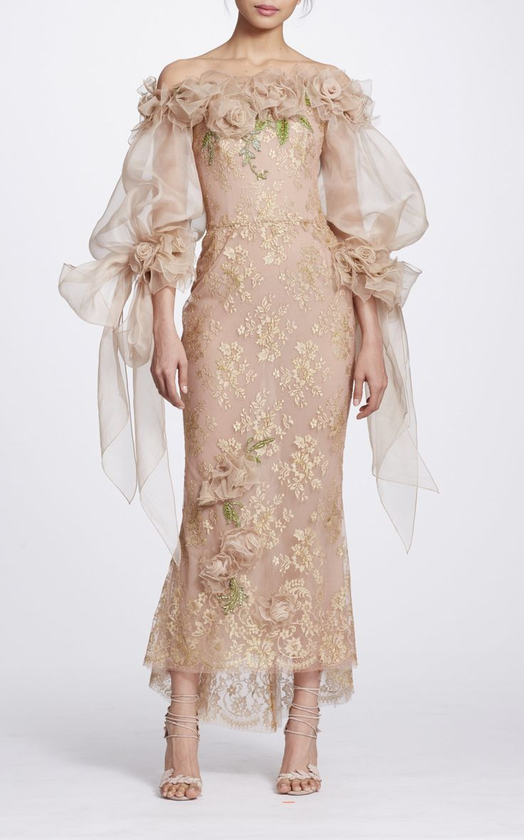 Off the Shoulder Tea Length Dress by MARCHESA for Preorder on Moda Operandi
