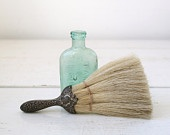 Antique whisk broom. silverplate handle horsehair broom. repousse, hand tied. Victorian 1800s home decor.