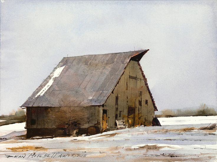 Winter Barn, 7.5 x 10