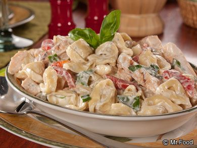 Chicken Tortellini Salad - 20 oz fresh/frozen or dried tortellini, 1 c sour cream, 1 c mayonnaise, 1 oz dry ranch dressing, 10 oz package cooked sliced chicken Or 2 c leftover cooked chicken, 6 scallions thinly sliced, 1/4 c fresh chopped basil.