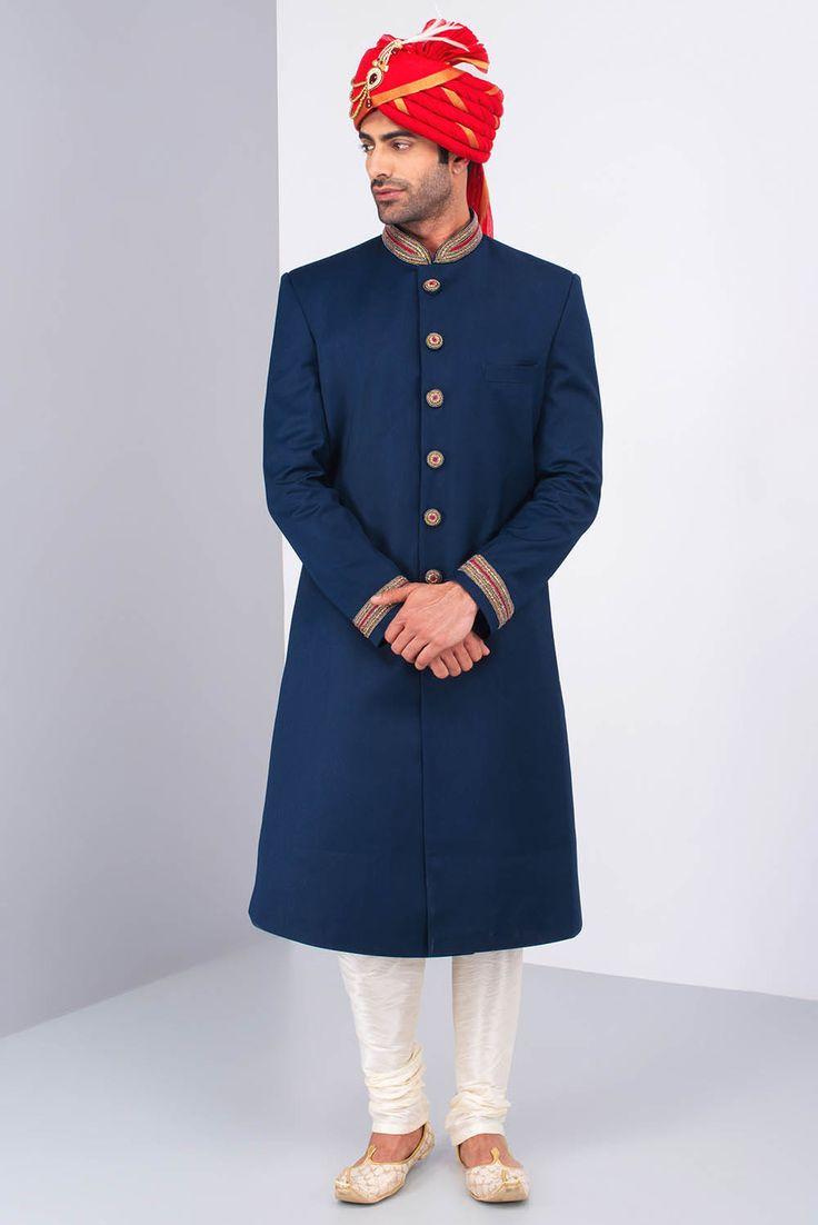 Oshnaar Navy Blue Achkan with Cream Kurta Chudidar and Maroon Safa #flyrobe #groom #groomwear #groomsherwani #sherwani #flyrobe #wedding #designersherwani