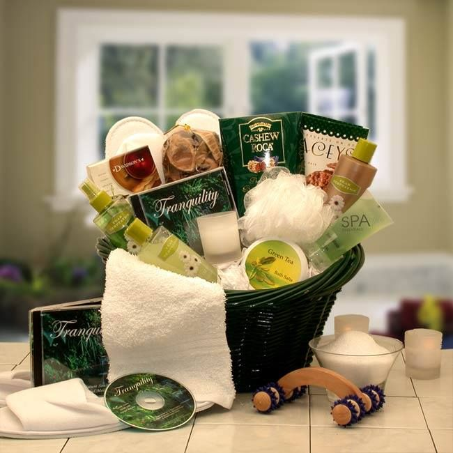 Spa Luxuries Gift  http://basketsformymom.com/  The Spa Luxuries Basket is a gift of invigorating Eucalyptus essence that soothes the skin and the senses.