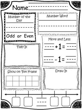 Number of the Day is a great activity for whole group, small group or center work that will reinforce many different ways to represent a number and will build strong number sense. On this worksheet: ~write/ copy the number of the day~write the number in word form ~identify if the number is odd or even~tally the number~show the number on a ten frame~draw objects to represent the number~add one more and subtract one less~identify two number that come before and two numbers that come after the…