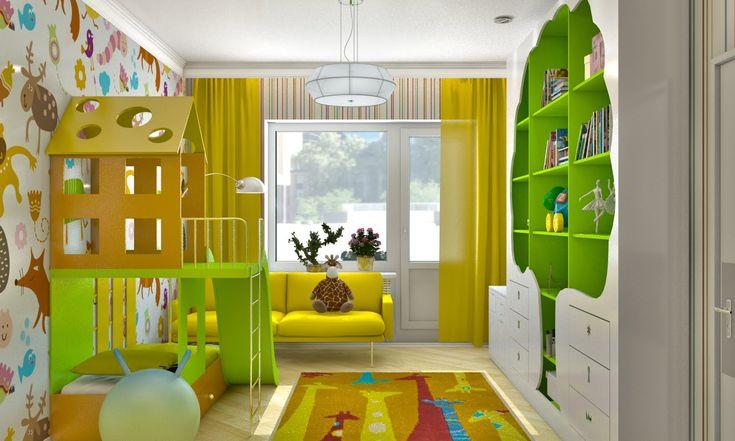 Желтая детская – дизайн детской комнаты для девочки