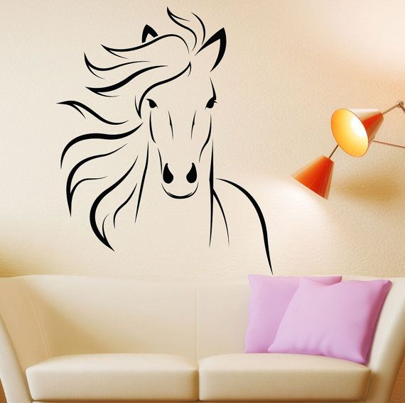 Horse decal mustang horse animal vinyl wall decal art for Horse wall decals