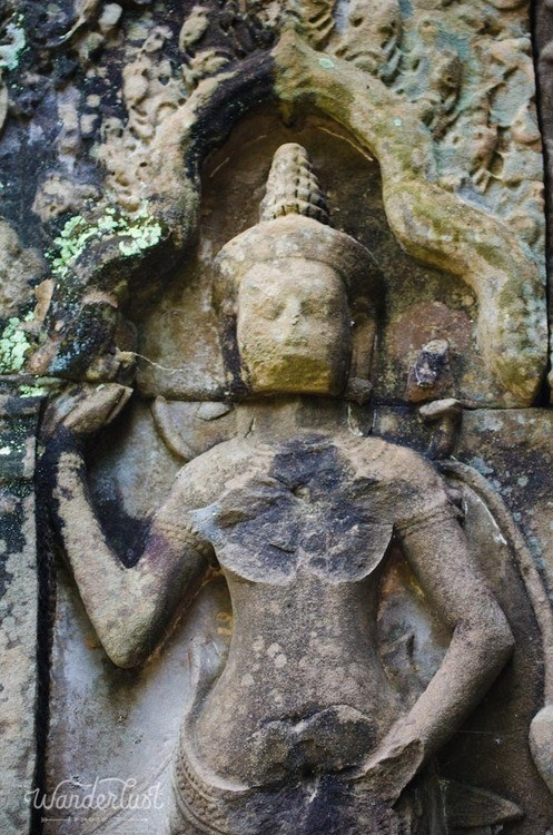 The famous bas relief carvings of angkor wat cambodia