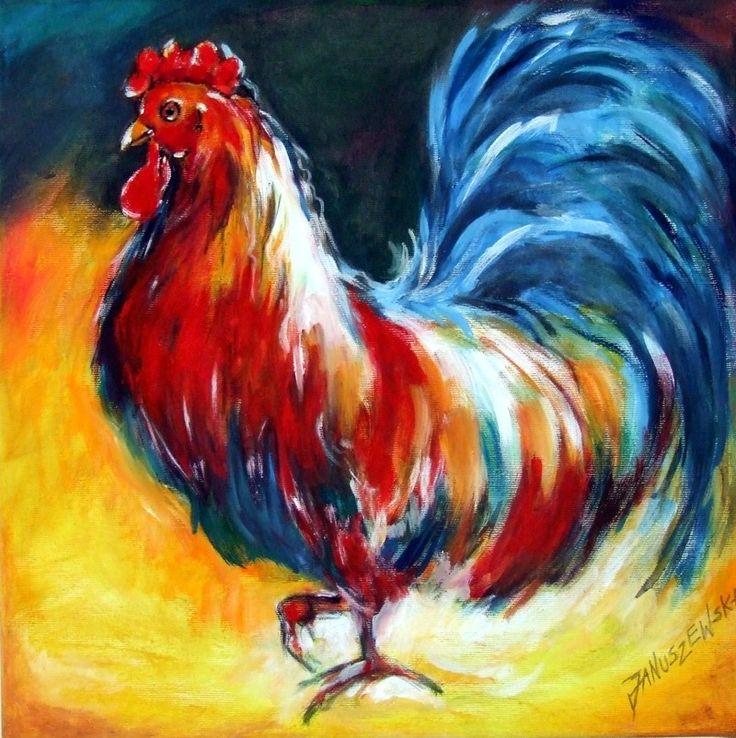 obraz olejny, akrylowy, technika mieszana, ręcznie malowany - Diana Art - Izabela Diana Januszewska. Tematyka - kogut, ptactwo domowe, ptawctwo wiejskie, tematyka wiejska.