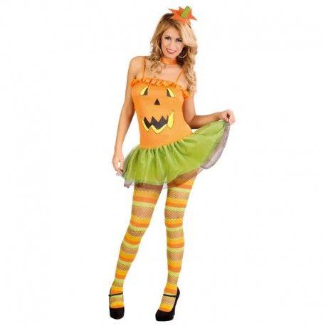 Disfraces Halloween mujer | Disfraz de calabaza. Contiene vestido de tirantes serigrafiado y tocado para la cabeza. Talla M. 13,95€ #calabaza #disfrazcalabaza  #disfraz #halloween #disfrazhalloween #disfraces