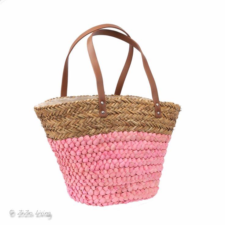 Strandtas van zeegras met sluiting en hengsels. Tas is erg handig voor naar het strand als mand of voor je boodschappen.