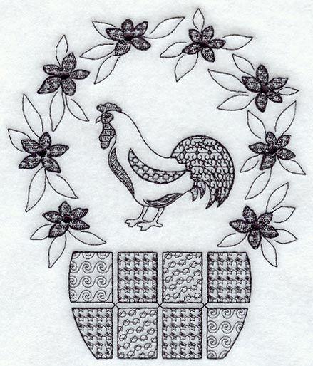 Rooster Basket (Blackwork)