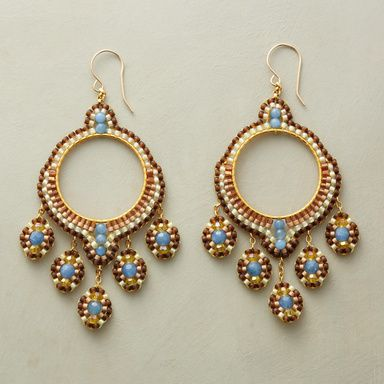 "CYMBALINE HOOPS -- A tapestry of gems is handworked in blue quartz, citrine and and tiny Japanese miyuki beads into voluptuous hoops on 14kt goldfilled earwires. Handcrafted in USA by Miguel Ases. 3-1/4""L."