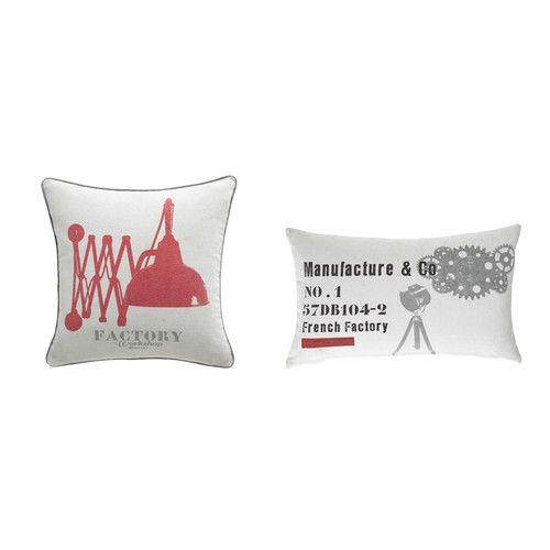 2 cuscini industriali in cotone écru e rosso 40 x 40 cm MANUFACTURE
