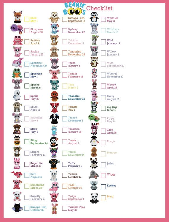 Beanie Boo Checklist - Instant Download - 8 x 10.5 Check your TY Boos off this list to see which ones you still are missing! I can also add the ones missing to the list.
