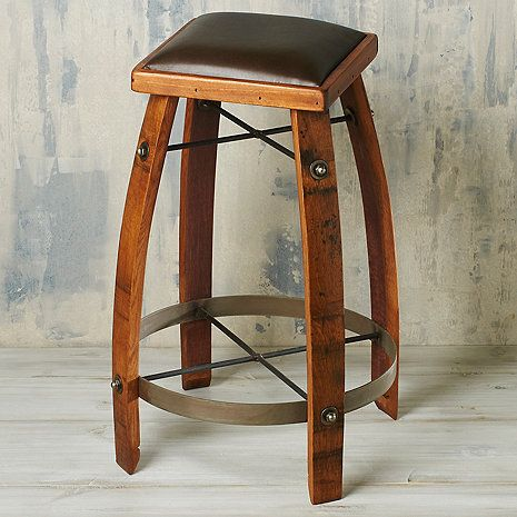 Vintage Oak Wine Barrel Bar Stool 28 Inches with Chocolate Leather Seat at Wine Enthusiast - $219.95