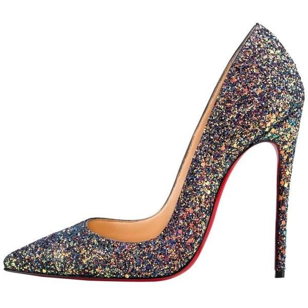 Preowned Christian Louboutin New Multi Glitter So Kate High Heels... ($1,375) ❤ liked on Polyvore featuring shoes, pumps, high heels, multiple, glitter high heel shoes, glitter shoes, glitter slip on shoes, high heel court shoes and high heel pumps