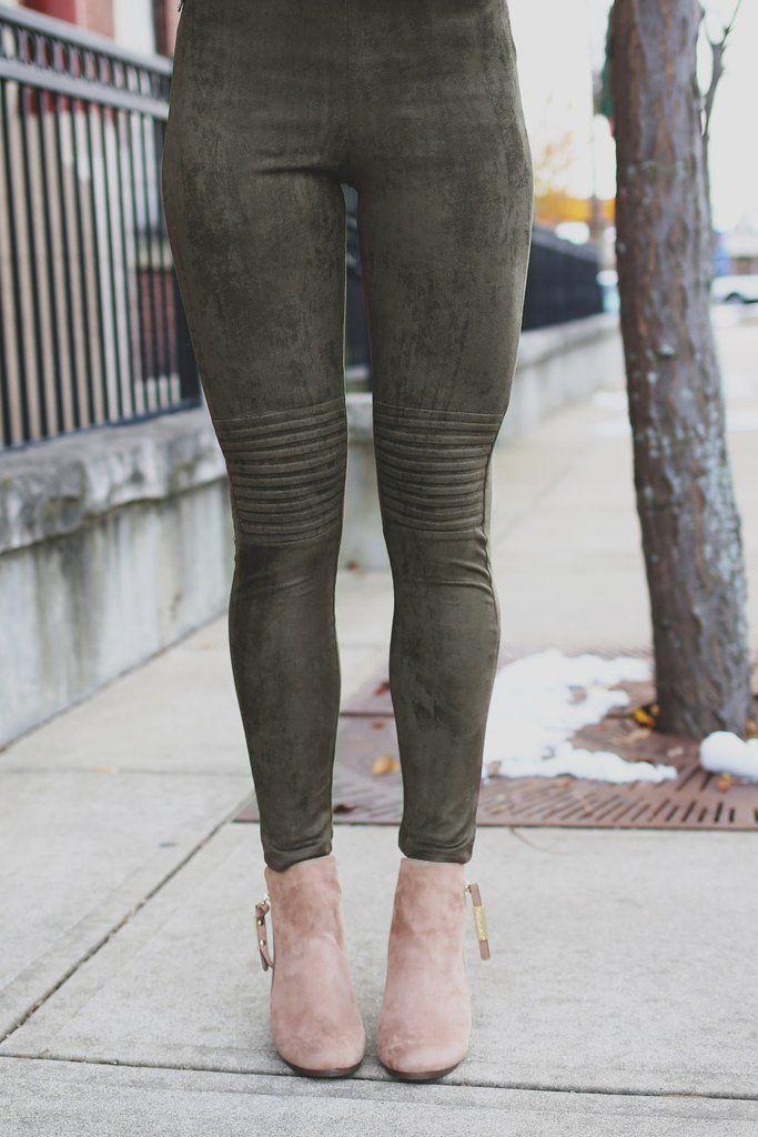 Olive Faux Suede Moto Leggings – UOIOnline.com: Women's ...