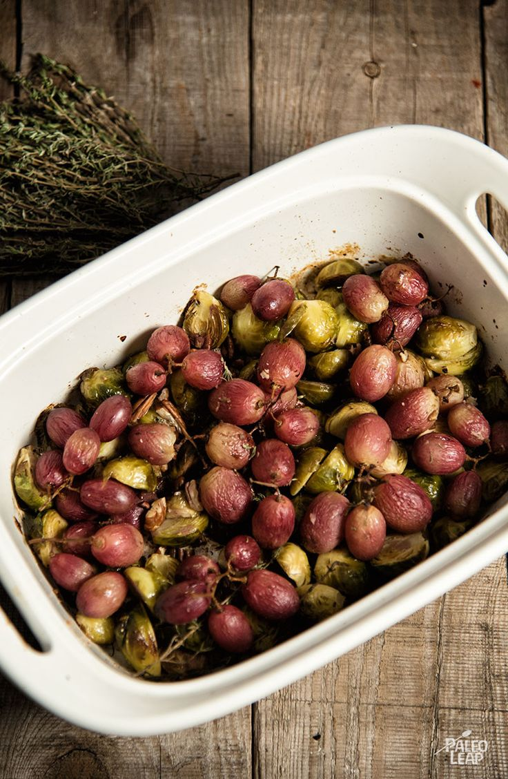 Roasted Brussels Sprouts with Grapes