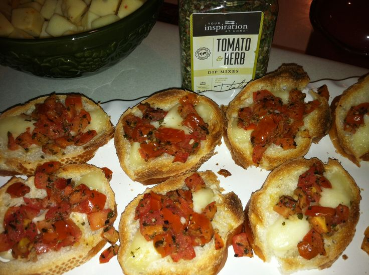 Bruschetta - Great for parties and EASY to make. 2 chopped tomatoes, 1 TBL YIAH Mediterranean Olive Oil, 1-2 TBL YIAH Tomato and Herb Dip Mix, a dash of garlic salt. Slice french bread, layer with mozzarella or Parmesan cheese, top with 1 tsp. of tomato mixture and broil in oven for 2-3 minutes. Watch carefully so not to burn! A crowd favorite! #bruschetta #yourinspirationathome #YIAH
